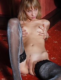 Super-hot ash-blonde posing all plump the dark-hued and platinum pantyhose only