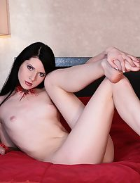 Gorgeous Viktoria - skinny brunette with small tits added to pink nipples posing nude